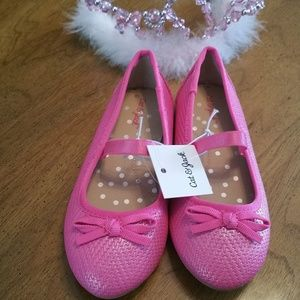 NWT Cat & Jack Size 6 Hot Pink Ballet Bows Shoes